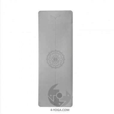 Каучуковый йога мат Феникс (Phoenix) 66см*185см* 4мм, серый с янтрой, Бодхи фото