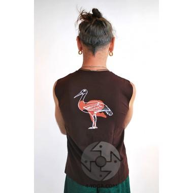 "Безрукавка ""Йог"" с рисунком на спине, коричневый"