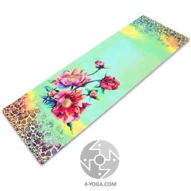 Йога мат каучуковый Индра (бирюзовый) 61см*183см*3мм, Китай фото