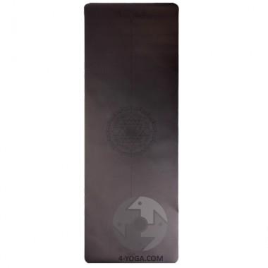 Каучуковый йога мат Феникс (Phoenix) 66см*185см* 4мм, черный с янтрой, Бодхи фото
