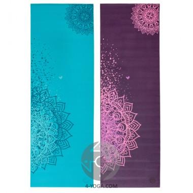 Дизайнерский коврик для йоги Leela Collection Curacao, Plum with print Mandalas, Bodhi