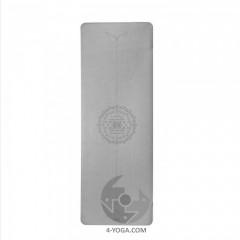 Каучуковый йога мат Феникс (Phoenix) 66см*185см* 4мм, серый с янтрой, Бодхи