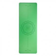 Каучуковий йога мат Фенікс (Phoenix) 66см*185см*4мм, зелений з янтрой, Бодхі