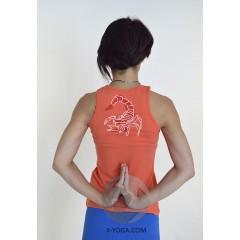 Йога майка Нади с рисунком на спине, коралловый