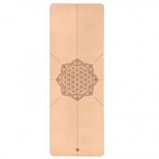 """Корковий килимок для йоги """"Квітка життя"""" 66см*185см*4мм, Бодхі, Німеччина"""