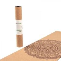 """Пробковый коврик для йоги """"Мандала двухцветный"""" 66см*185см*4мм, Бодхи, Германия"""